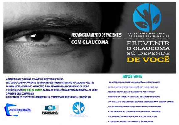 Sec. de Saúde Convoca pacientes que fazem tratamento de Glaucoma pelo sus.