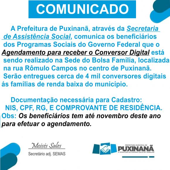 SEMAS COMUNICA AGENDAMENTO PARA RECEBIMENTO DO CONVERSOR DIGITAL ATÉ NOVEMBRO DE 2018.