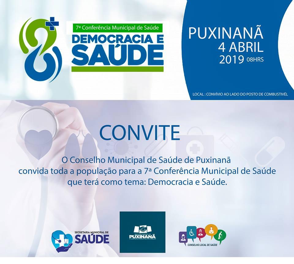 7ª CONFERÊNCIA MUNICIPAL DE SAÚDE DE PUXINANÃ