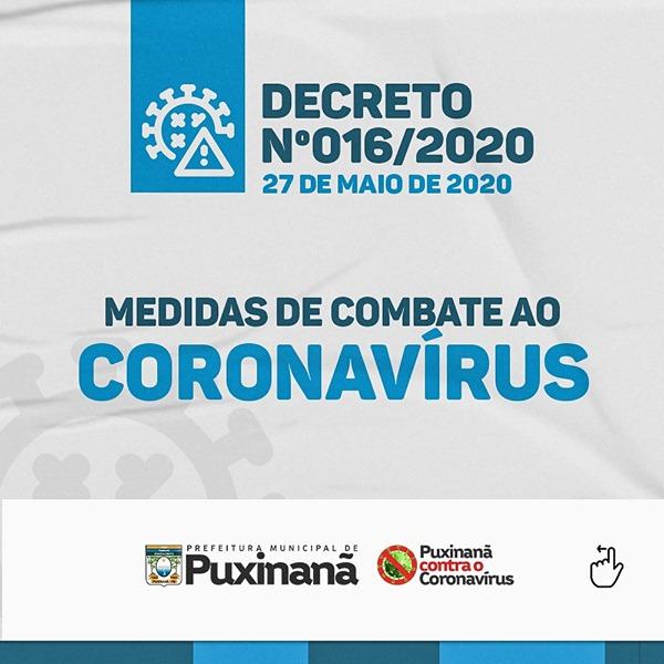 Atenção para o Decreto Municipal nº016/2020