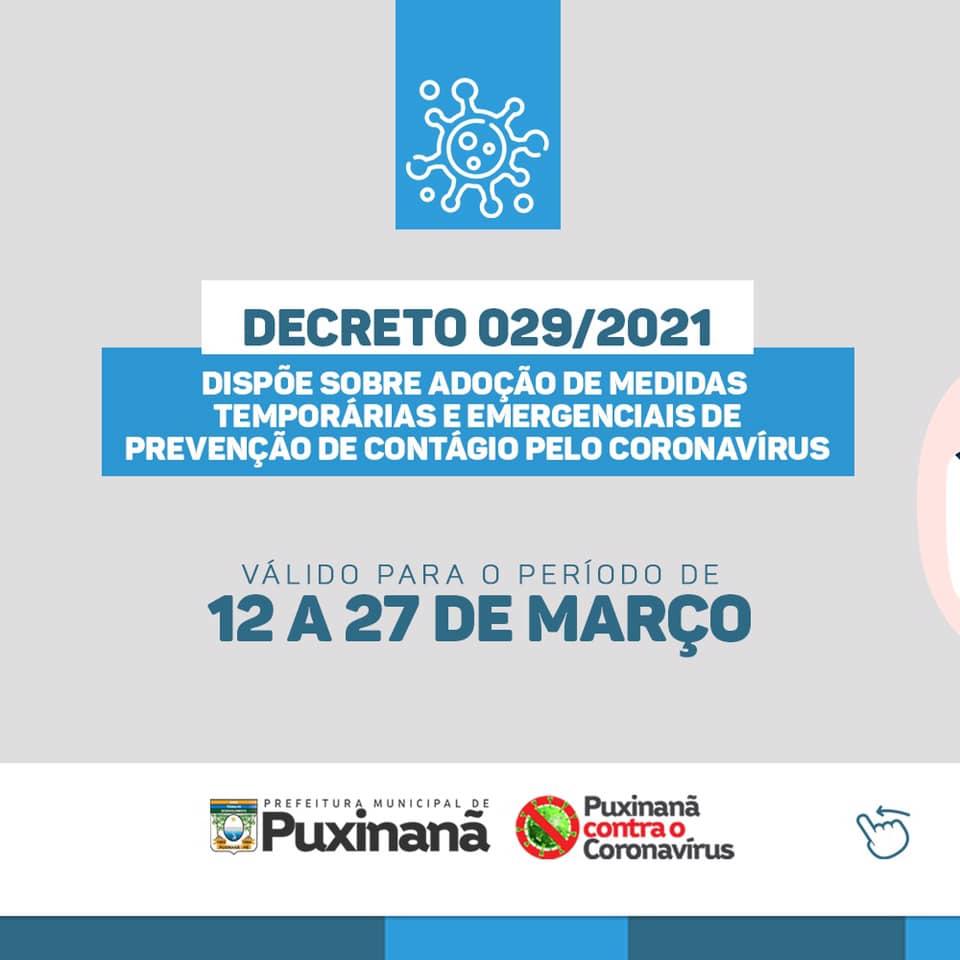 Decreto Municipal 029/2021 confira