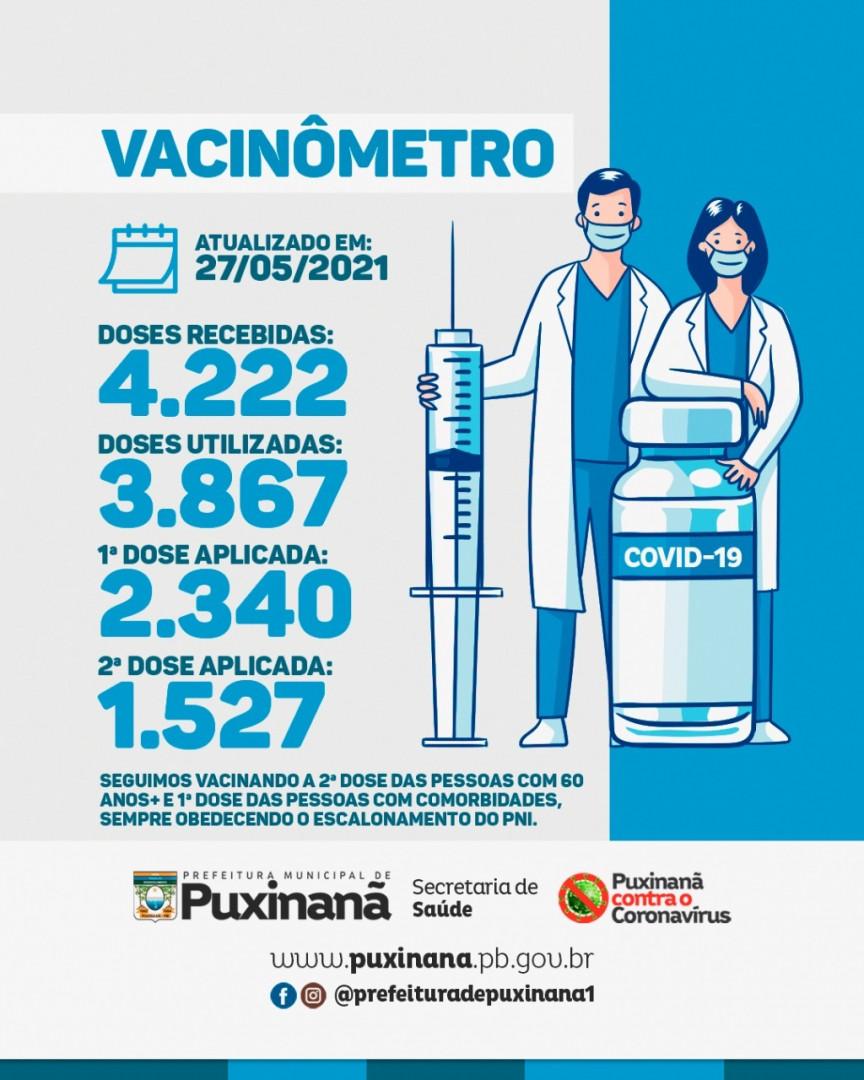 Puxinanã já aplicou 3.867 doses de vacina contra a Covid-19