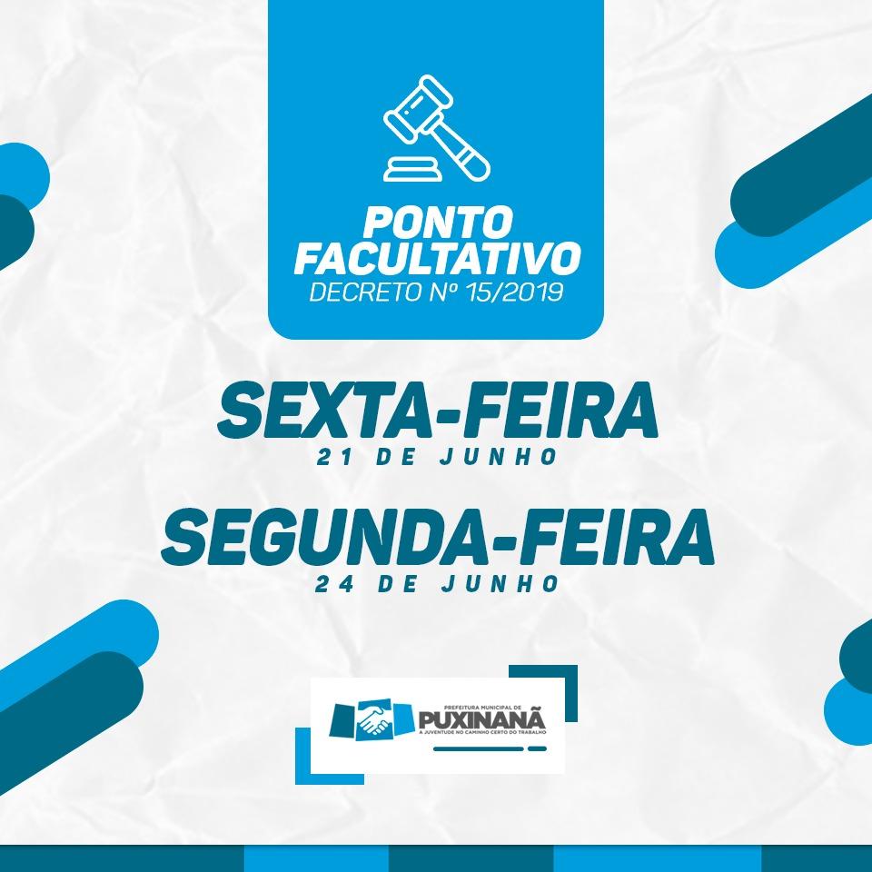 PMP DECRETA PONTO FACULTATIVO SEXTA 21/06 E SEGUNDA 24/06